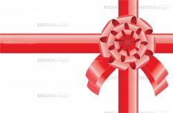 red realistic bow with a ribbon, greeting background