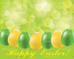Easter background with eggs and blurry light
