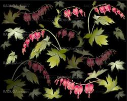 """Seamless background from a flowers ornament, fashionable modern wallpaper or textile.    Illustration  """"bleeding heart"""" (Dicentra spectabilis)."""