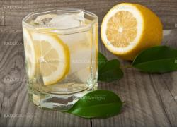 cocktail glass with lemon and ice on wooden background