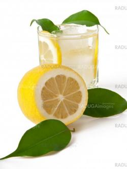 Lemon drink with ice on a white background