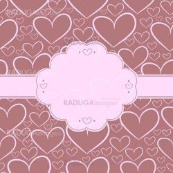 Card and seamless pattern with silhouettes of hearts
