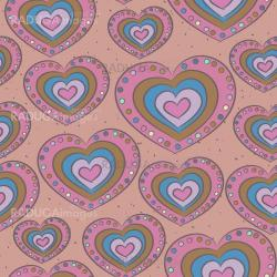 Seamless pattern with hearts in ethnic style.