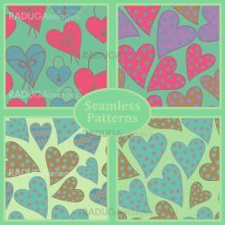 Cute seamless patterns with hearts