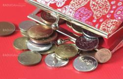 Red purse with coins