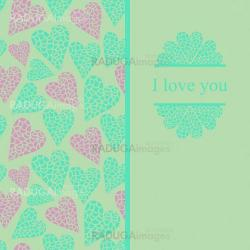 Romantic greeting card with mosaic heart and label.