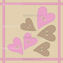 Seamless pattern with hearts buttons and braid