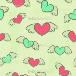 Seamless pattern, hearts with wings, vintage background