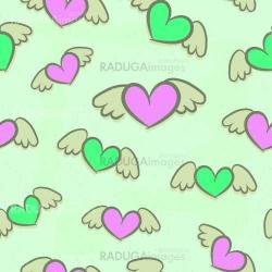 Seamless pattern, hearts with wings