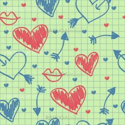 Abstract seamless pattern, hearts on a paper
