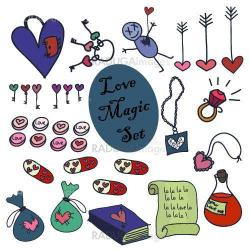 A set of love magic icons.