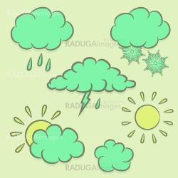 Icons images with clouds, sun, rain, snow.