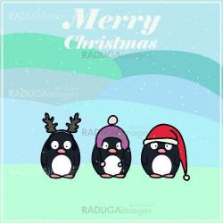 Postcard for Christmas with penguin