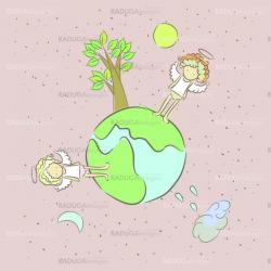 Illustration of sad lonely angels on a small planet