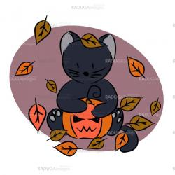 Illustration, an icon with a black kitten and pumpkin