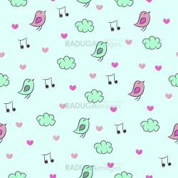 Seamless pattern with birds, hearts, clouds and notes.