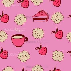 Seamless pattern with cakes, strawberries and coffee.