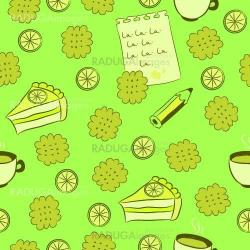 Seamless pattern with cakes, lemon and tea.