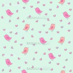 Seamless pattern with birds and hearts.