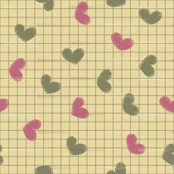 Seamless with ink painted hearts on a sheet of notebook.