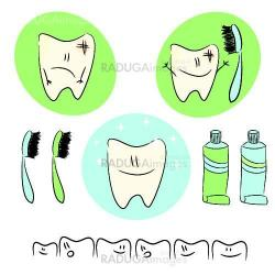 A set of fun characters for children about dental care