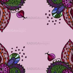 Abstract seamless pattern, card with flowers