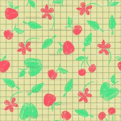 Seamless pattern sketch with fruit and berries
