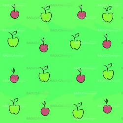 Seamless pattern with apples and plums