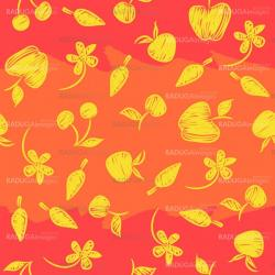 Seamless pattern with silhouettes fruit, berries and flowers.