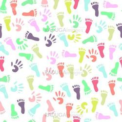 Baby handprint and footprint, seamless pattern