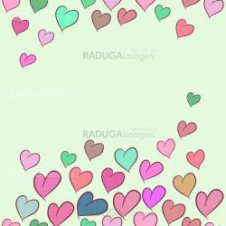 Seamless pattern, card with colorful cartoon hearts.