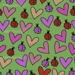 Romantic seamless pattern with ladybugs and hearts.