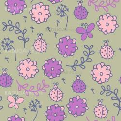 Romantic seamless pattern with ladybugs, flowers, butterflies