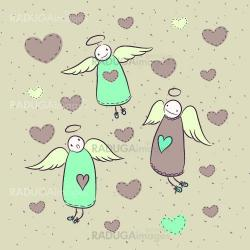 Cute cartoon card with angels and hearts.