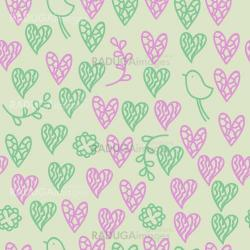 Romantic seamless pattern with birds, hearts
