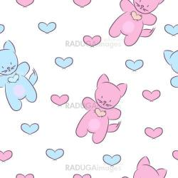 Seamless pattern with toys and hearts