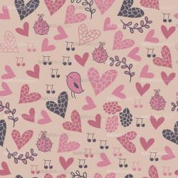 Romantic seamless pattern with birds, flowers, hearts