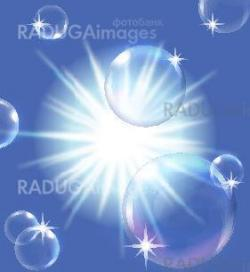 sun in blue sky with bubbles, EPS10