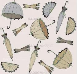 Illustration of vintage umbrella, fan, glove. Seamless background fashionable modern wallpaper or textile.