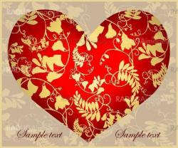 Decorative heart. Hand drawn valentines day greeting card. Illustration lace.