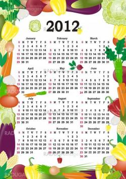 vector calendar 2012 in colorful frame