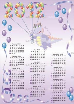 calendar 2012  with cartoon dragon and balloons in vector