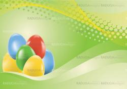 Colored easter eggs on green background