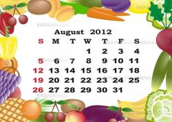 August - monthly calendar 2012 in colorful frame