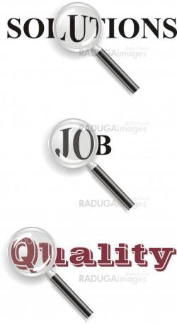 """magnifying glass with words"""" job', 'solutions', 'quality'"""