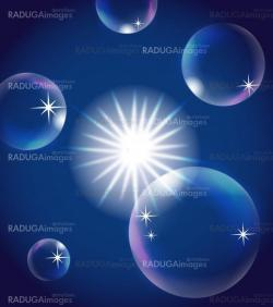 sun in blue sky with bubbles