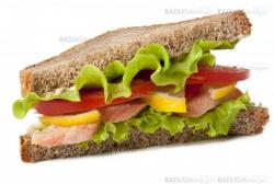 sandwich with boiled red fish on a white background
