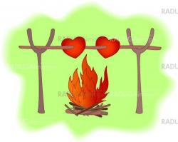 Hearts and a fire